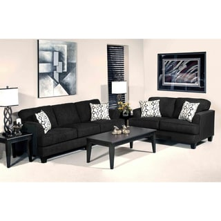 Soprano Black Radical Texture Sofa and Loveseat Set