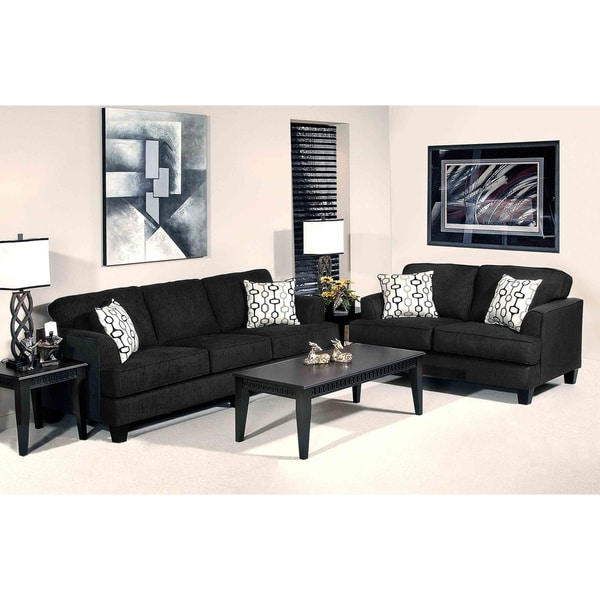 Soprano black radical texture sofa and loveseat set free for Black living room set