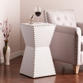 Clay Alder Home Liberty White Faux Leather Accent Table