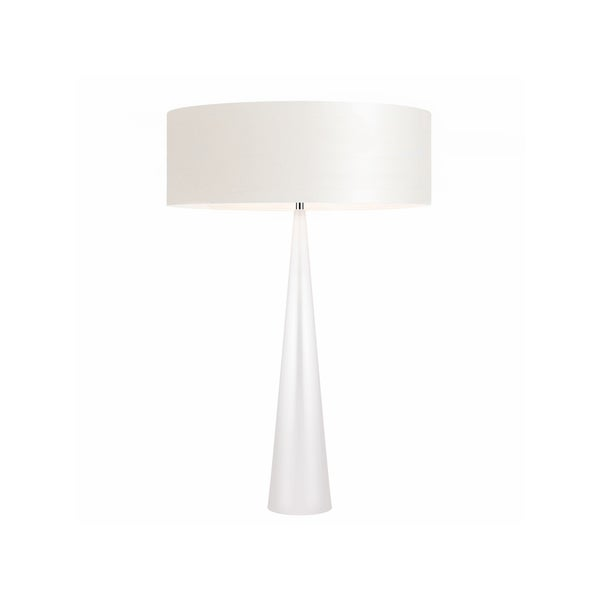 Sonneman Lighting Big Glossy White Table Cone Lamp, Off-White Shade