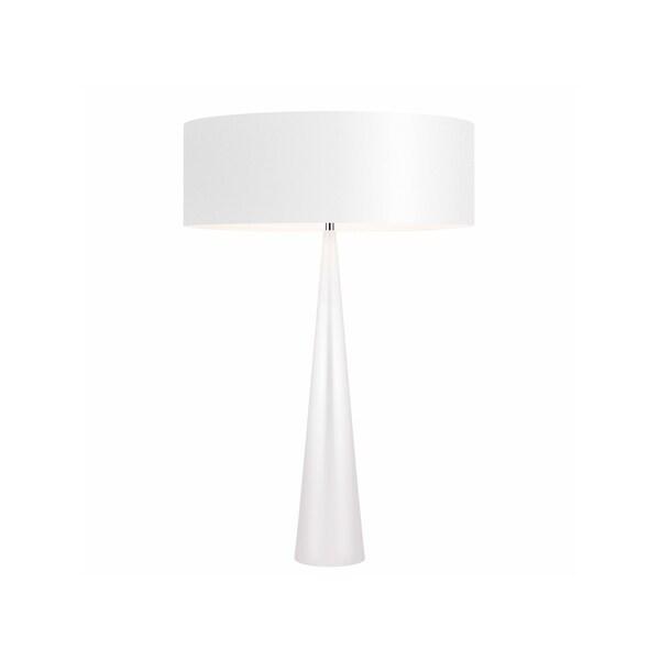 Sonneman Lighting Big Glossy White Table Cone Lamp, White Shade