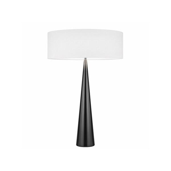 Sonneman Lighting Big Glossy Black Table Cone Lamp, White Shade