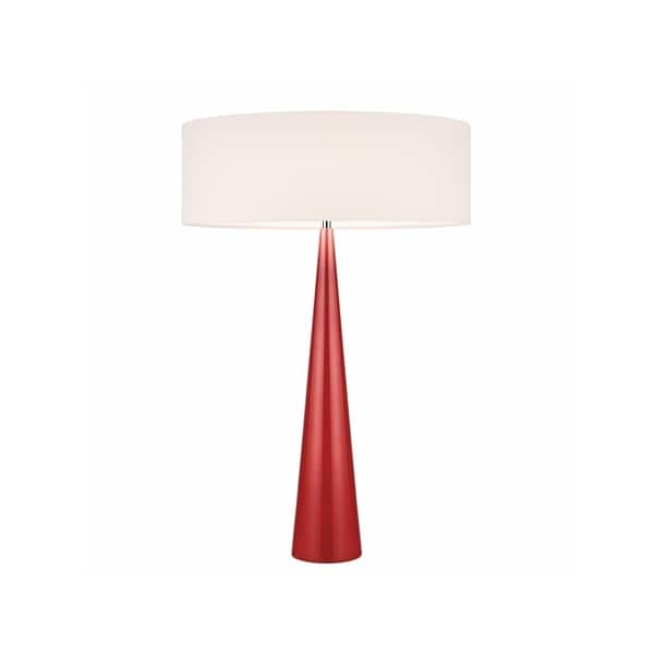 Sonneman Lighting Big Glossy Red Table Cone Lamp, Off-White Shade