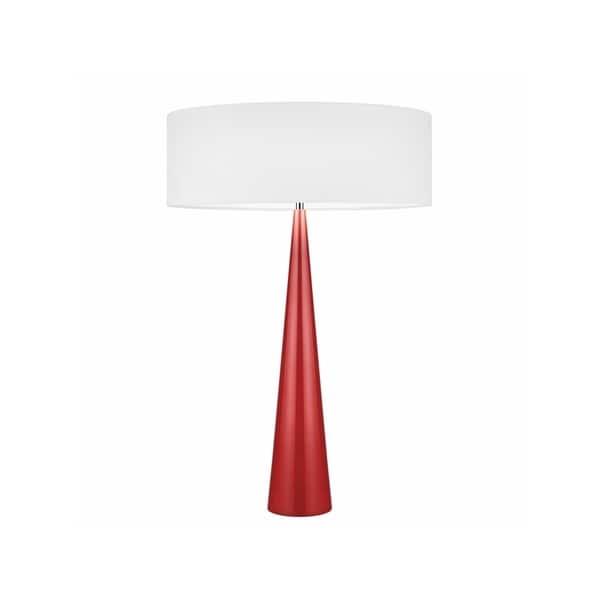 Sonneman Lighting Big Glossy Red Table Cone Lamp, White Shade
