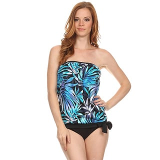 Dippin Daisy's Blue Leaves Bandeau Blouson Tie Tankini
