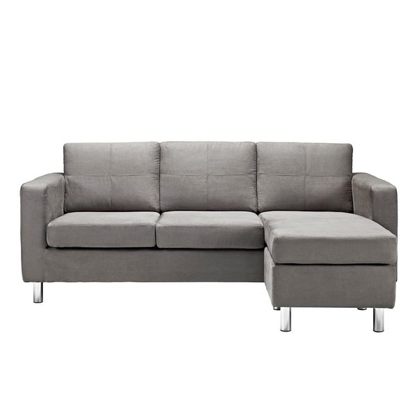 Modern grey microfiber small space sectional sofa with for Gray microfiber sectional sofa with chaise