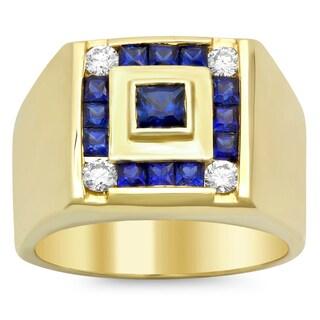 14k Yellow Gold 1/3ct TDW Diamond and Sapphire Ring (F-G, VS1-VS2)