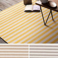 Hand-Woven Leyburn Stripe Indoor Wool Area Rug