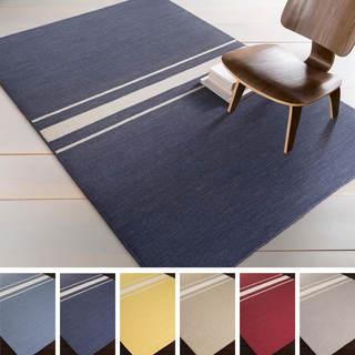 Hand-Woven Leiston Stripe Indoor Wool Rug (8' x 11')