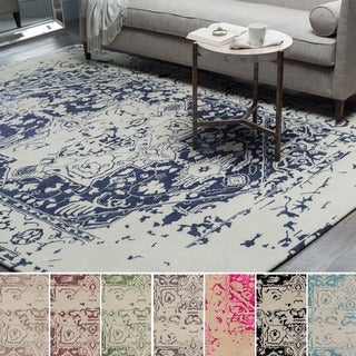 Hand-Tufted Prudhoe Border Indoor Viscose Area Rug