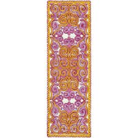 "Hand-Woven Silloth Damask Wool Area Rug - 2'6"" x 8'"