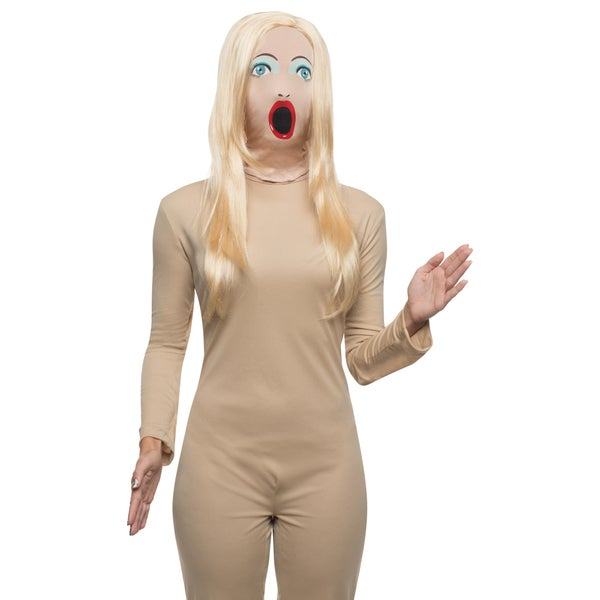 Blow-up Doll Mask with Wig Costume