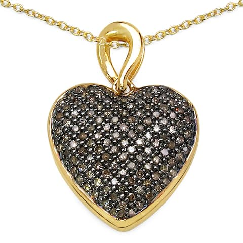 Malaika 14k Goldplated 3/4ct Champagne Diamond Heart Pendant