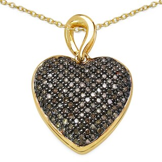 Malaika 14k Goldplated 3/4ct Champagne Diamond Heart Pendant