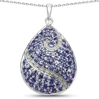 Malaika Sterling Silver 4 3/4ct Genuine Tanzanite Teardrop Pendant