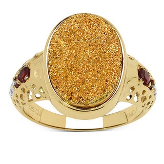 Malaika 4.71 Carat Genuine Golden Drusy, Garnet & White Topaz .925 Sterling Silver Ring