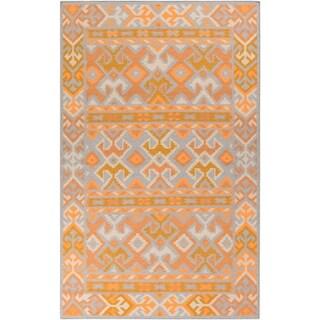 Hand-Woven Leah Southwestern Style Wool Area Rug (8 x 11 - Orange)
