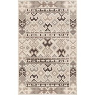 Hand-Woven Leah Southwestern Style Wool Area Rug (8 x 11 - Grey)