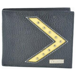 Belano Fashion Men's Black Leather Bifold Wallet
