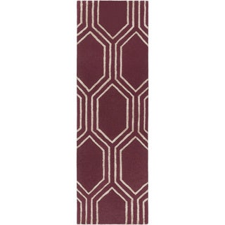 Hand-Tufted Herman Geometric Pattern Viscose Area Rug (2'6 x 8')