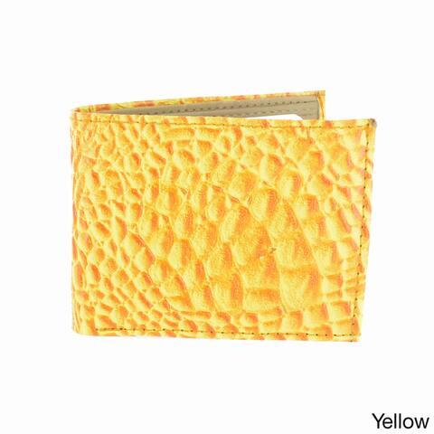 LL Fashion Men's Crocodile Skin Embossed Leather Bifold Wallet