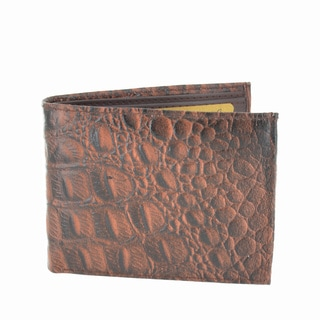LL Fashion Men's Crocodile Skin Embossed Leather Bifold Wallet