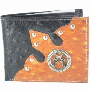LL Fashion Men's Leather Black Bifold Wallet with Twin Guns Metal Emblem