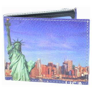 YL Fashion Statue of Liberty Men's Blue Leather Bifold Wallet