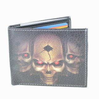 YL Fashion Skull Men's Black Leather Bifold Wallet