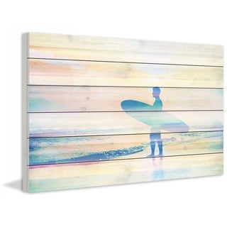 "Parvez Taj - ""Faded Surf"" Print on White Wood"