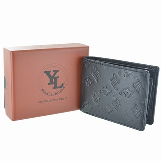 YL Fashion Embossed Logo Men's Leather Bifold Wallet