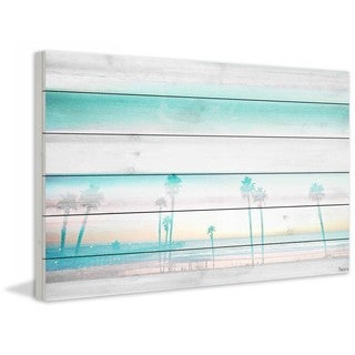 "Parvez Taj - ""Hazy Beach"" Print on White Wood"