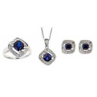 Divina Rhodium over Brass Sapphire and Diamond Accent 3-piece Jewelry Set (I-J, I2-I3)