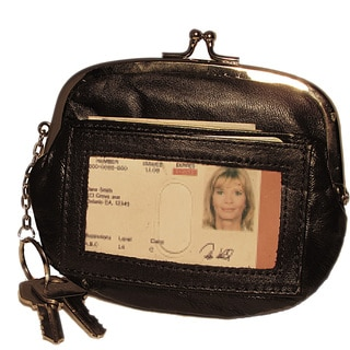 Genuine Leather Womens Coin Purse with Kiss Lock Metal Frame with Exterior WIndow ID and Key Ring Holder