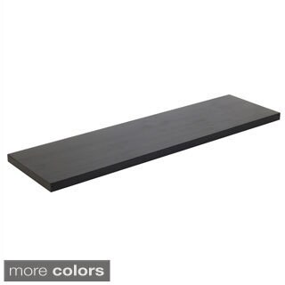 36-inch Solid Wood Black Wood Grain Finish Floating Wall Shelf