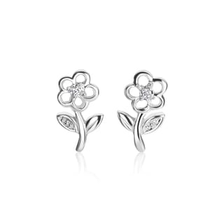 SummerRose 14k White Gold Diamond Accent Flower Earrings (H-I, SI1-SI2)