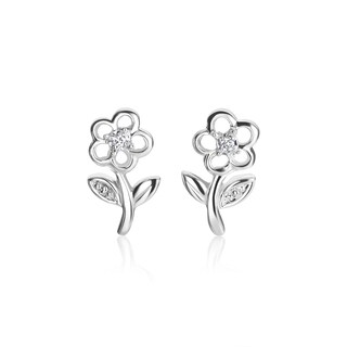 SummerRose 14k White Gold Diamond Accent Flower Earrings