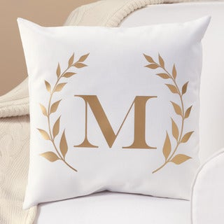 Gold Laurel Initial Personalized Throw Pillow