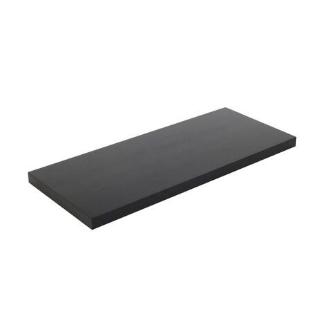 24-inch Solid Wood Black Wood Grain Finish Floating Wall Shelf