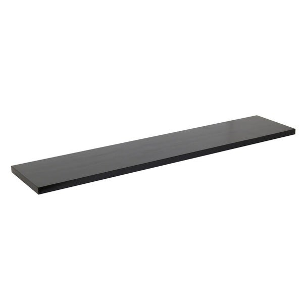 Shop 48 Inch Solid Wood Black Wood Grain Finish Floating Wall Shelf