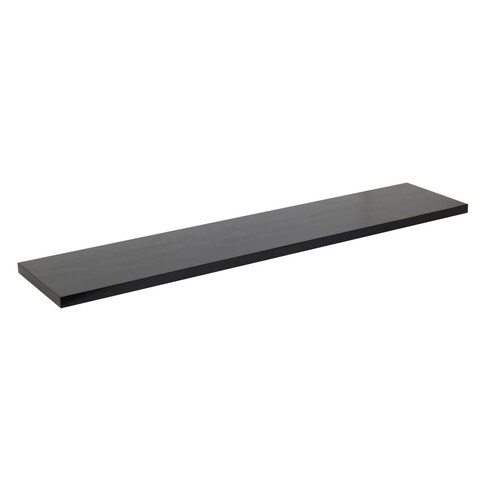 48-inch Solid Wood Black Wood Grain Finish Floating Wall Shelf