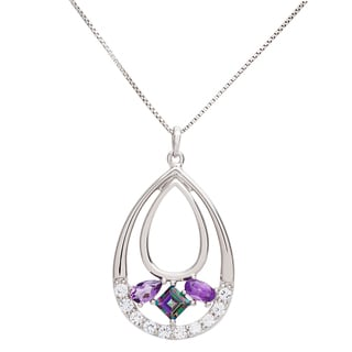 Sterling Silver Multi-gemstone Teardrop Necklace