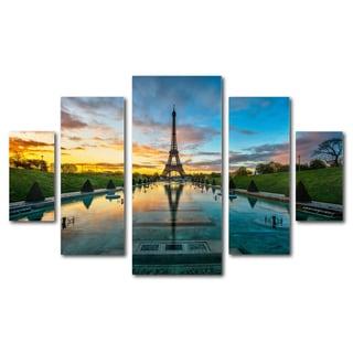 Mathieu Rivrin 'Sunrise in Paris' 5 Panel Art Set - Multi