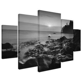 Moises Levy 'Sunset At Ruby Beach' 5 Panel Art Set