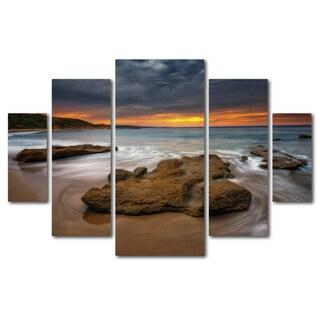 Lincoln Harrison 'Beach at Sunset 5' 5 Panel Art Set