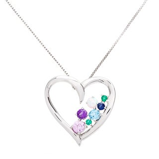 Sterling Silver Multi-gemstone Heart Necklace