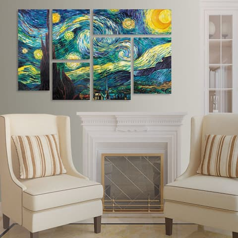 Vincent van Gogh 'Starry Night' 6 Panel Art Set - Multi