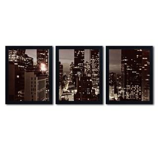 Ariane Moshayedi 'NYC After Dark' Three 16x20 Black Framed Wall Arts Set