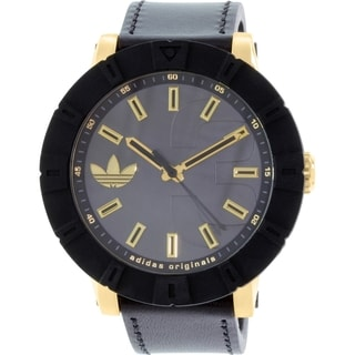 Adidas Men's Amsterdam ADH3041 Black Leather Swiss Quartz Watch