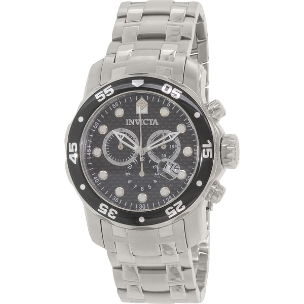 72ba5e424 Shop Invicta Men's Pro Diver Silver Stainless-Steel Swiss Chronograph Watch  - Free Shipping Today - Overstock.com - 10434392